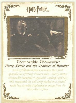 Harry Potter Memorable Moments Series 1 Gold Stamped Promo Card #2