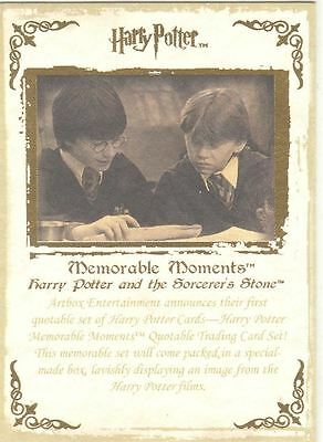 Harry Potter Memorable Moments Series 1 Gold Stamped Promo Card #1