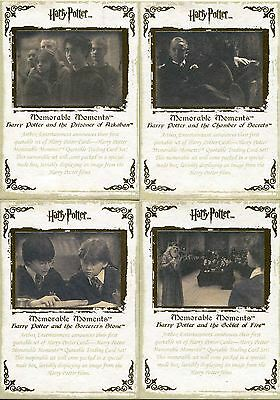 Harry Potter Memorable Moments Series 1 4 Card Gold Stamped Promo Set