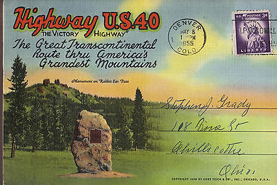 Highway US 40 Route through America's Grandest Mountains 16 view 1939 postcard