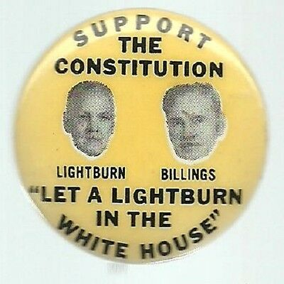 Lightburn, Billings 1964 Third Party Political Campaign Pin