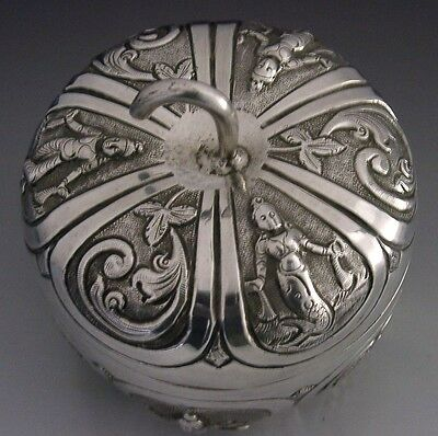 INDIAN SOLID SILVER NOVELTY APPLE TEA CADDY CANISTER / BOX c1920 ANTIQUE