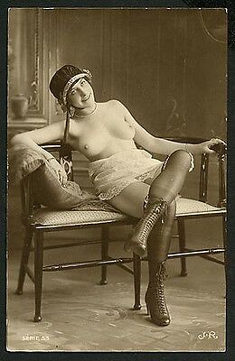 French YOUTHFUL NUDE Seated High Boots MARVELOUS Agelou Photo 1915 PARIS Latest