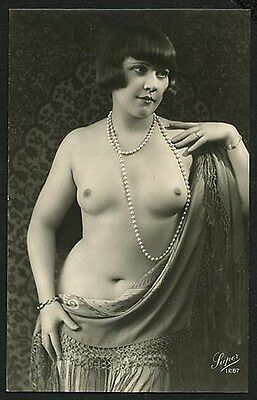 French YOUTHFUL Full FIGURE Nude DRAPED + PEARLS 1920s Deco Era ~ PARIS Latest!