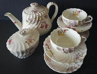 Spode Copeland China Fairy Dell Tea Pot, Sugar Bowl With Lid, 4 Saucers & 4 Cups