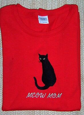Black Cat Embroidered Red Ladies Gildan Tee. BLACK CATS ARE BEAUTIFUL