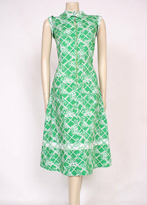 ORIGINAL VINTAGE 1970's 70's GREEN WHITE PRINT COTTON MOD POCKETS DRESS! UK 16