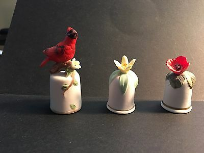 Thimble Sewing Lot Of 3 China Porcelain Collectible 7-Hubbard Collection
