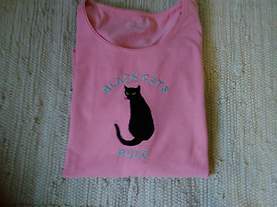 Black Cat Embroidered Pink Ladies Tee. BLACK CATS ARE BEAUTIFUL