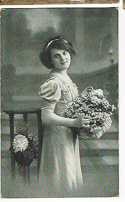Vintage WW1 ERA RP POSTCARD: BEAUTIFUL GIRL WITH BASKET OF FLOWERS