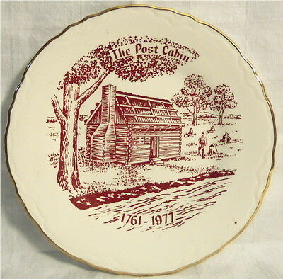 1977 THE POST CABIN Gold Trim COLLECTOR'S PLATE First Log Cabin in Ohio, STAR