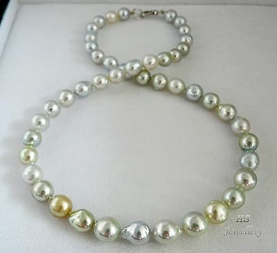 """HS Baroque 7.8 X 9.8mm South Sea Cultured Pearl Necklace 18.25"""" 18K White Gold"""