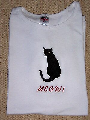 Black Cat Embroidered Meow Summer White Ladies Tee.