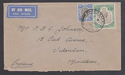 1934 Tanganyika 1/-30 rate Airmail to Middlesex / Daressalaam - cancel G/ used.