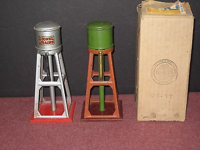 Two Lionel Water Towers #93 Prewar - Early & Late colors w/ 1 box. Very nice. bd