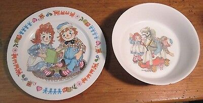 1969 Oneida Deluxe Plastic  Raggedy Ann & Andy Bobbs Merrill Plate & Cereal Bowl