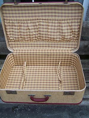 Stunning Vintage Viscount Suitcase In Cream With Red Trim, Classic Car,camper..