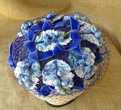 VINTAGE BLUE FLOWERS HAT PILLBOX VEIL VELVET RIBBONS LEAVES 1960s