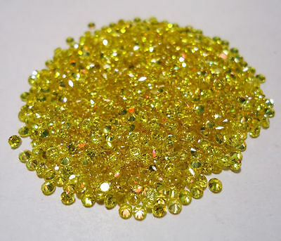 10 PIECES OF 2mm ROUND-FACET BRIGHT CANARY-YELLOW CUBIC ZIRCONIA GEMSTONES
