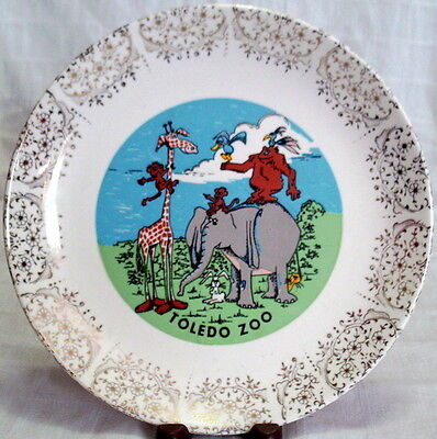 Vintage COLORFULLY ILLUSTRATED Toledo Zoo COLLECTOR'S PLATE Gold Filigree Rim