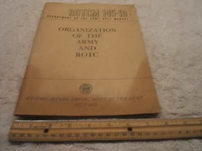 Vintage ORIGINAL 1957 Army ROTCM 145-10, Organization of the Army and ROTC