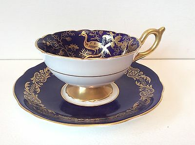 Vintage Coalport Cup And Saucer Cobalt And Gold