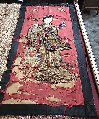 "Antique Chinese Panel Wall Hanging Hand Embroidery On Silk Art Textile 36""X 71"""