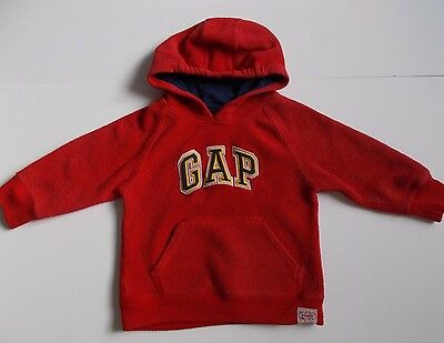 Boys Red Fleecey Hoody By Baby GAP Size 18-24 Months
