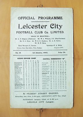 LEICESTER CITY v COVENTRY CITY 1948/1949 *Good Condition Football Programme*