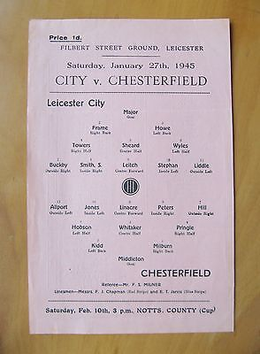 LEICESTER CITY v CHESTERFIELD FA Cup 1944/1945 *Exc Cond Football Programme*