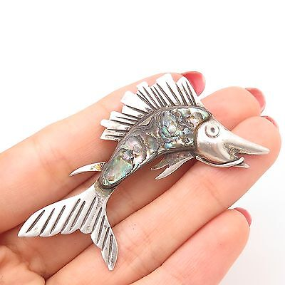 Antq Mexico  925 Sterling Silver Real Abalone Shell Fish  Pin Brooch