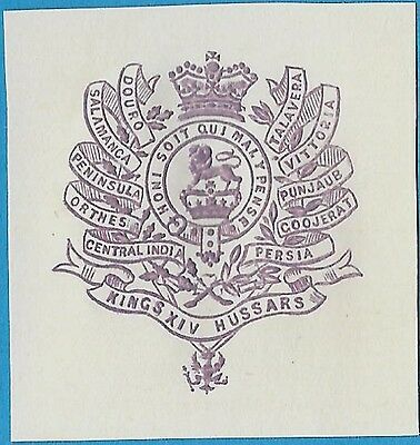 + Kings 14th Hussars Calvary Regiment Embossed Arms Crest Cut Square Reprint