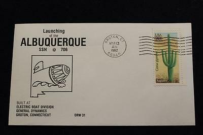 Drw Naval Cover #31 Launching Uss Albuquerque (Ssn-706) 1982 Machine Cancel