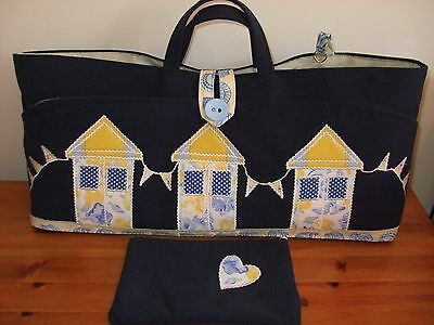 Knitting Bag Hand Made Navy Beach Huts Applique+Case