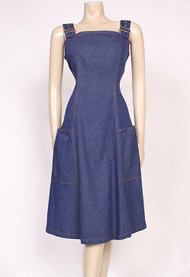 Original VINTAGE 1970's 70's DENIM BUCKLES PINAFORE SUMMER POCKETS DRESS! UK12