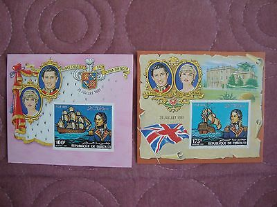 Wedding 1981 Charles & Diana Djibouti imperforate Miniature Sheets 2nd issue
