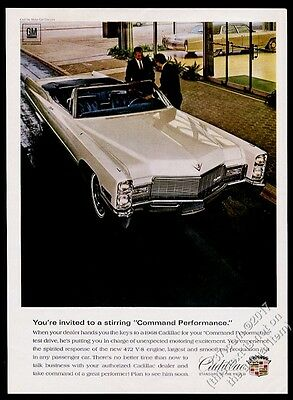 1968 Cadillac DeVille convertible white car photo vintage print ad