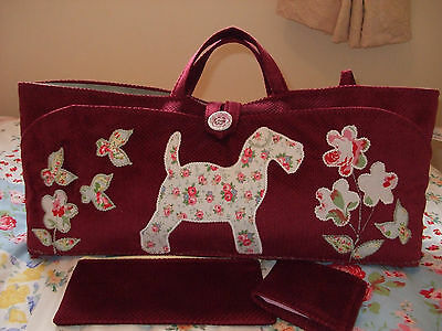Knitting Bag Hand Made Dog Applique In Cath Kidston Fabric Red