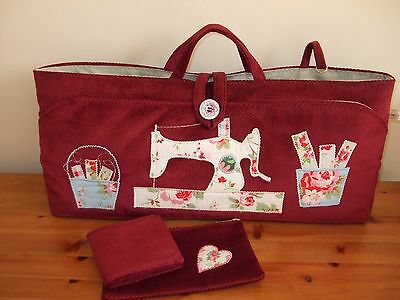 Knitting Bag Hand Made Red Applique In Cath Kidston Fabric