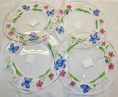 """4 x LENOX """"Butterfly Meadow"""" Hand Painted Glass Plates with Labels, Signed S.C."""