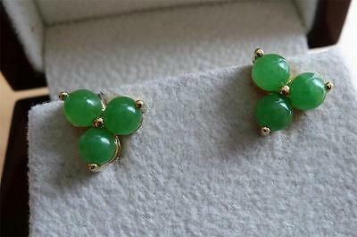 Cabochon Green Jade Yellow Gold Plated 925 Silver Stud Earrings
