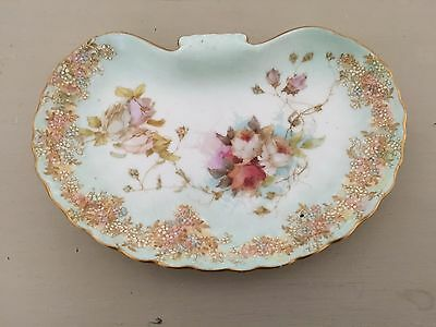 Vintage Antique 1891 Doulton Burslem Pretty China Floral Shell Shaped Pin Dish