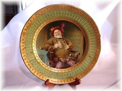 Antique Vienna Dresden Art Tin Portrait Plate Jack Falstaff As-Is!