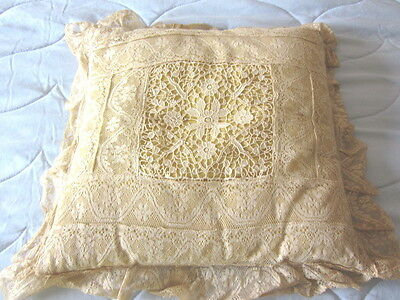 Antique Vintage Victorian Square Yellow Boudoir Pillow Lace 1930's