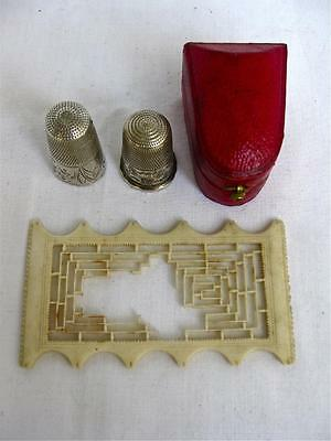 Collection Antique Sewing Tools-2x Silver Thimbles &Case-Silk Holder.