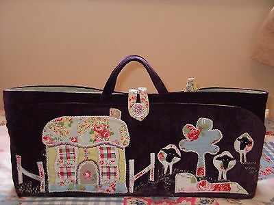 Knitting Bag + Cases Hand Made Cottage & Sheep Applique New