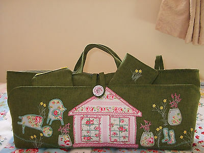 Knitting Craft Bag Hand Made Summerhouse Green New