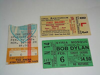 Rolling Thunder Revue Bob Dylan 3 Authentic 1966  1974 1976 Concert Ticket Stubs
