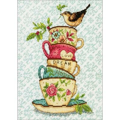 Counted Cross Stitch Kit STACKED TEA CUPS S.  Winget Dimensions Gold Collection