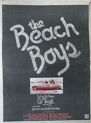 BEACH BOYS : So Tough -Poster Size NEWSPAPER ADVERT- 1972 30cm X 40cm